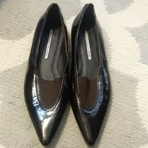 Donald J Pliner brown patent leather flats